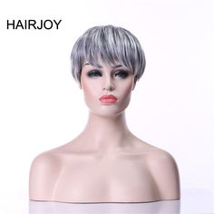 HAIRJOY Grey Wig 2 Tones Black in the Roots Short Straight Woman Natural Synthetic Hair 2 Colors Available