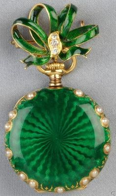 ♥ ~ ♥ Green ♥ ~ ♥ Antique Gold, Enamel, and Split Pearl Pendant Watch, Tiffany & Co. Antique Watches, Antique Clocks, Vintage Watches, Antique Jewelry, Vintage Jewelry, Pearl Pendant, Pendant Watch, Pocket Watch Antique, White Enamel