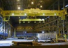 Electromagnetic double girder overhead crane: http://overheadcranemanufacturers.com/electric-overhead-crane/.