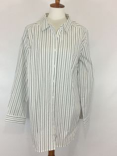 765518395f7 Plus Size Tops · Woman s Button Down ShirtSZ 22W White with Black Strip Top  Long Sleeve  Roamans  ButtonDownShirt