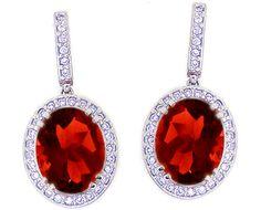 14K White Gold Large Oval Garnet Gemstone and Diamond Drop Earrings