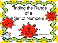 Finding the range will be a piece of cake for your students after completing the whole group activity and these task cards.  There are 5 sets of task cards (15 in each set).  This gives you the ability to practice this skill five different times.  I have included a student answer sheet and answer keys for each set of task cards.There is also an anchor chart in color for use in the classroom.