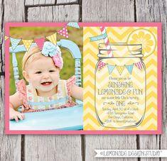 Limonada rosada soporte invitación tarro por LemonadeDesignStudio