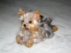 Needle Felted Yorkshire Terrier Yorkie Custom Dog Portrait Sculpture by GERRY Poseable Lifelike Scamp. $250.00, via Etsy.
