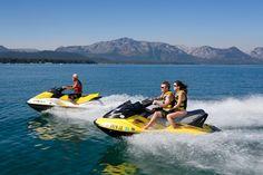 Jet skiing in Lake Tahoe. Rent your favorite water equipment at Camp Richardson Marina in South Lake Tahoe, CA, including jet skis, kayaks, SUPs, power boats. www.CampRichardson.com