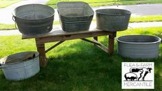 Vintage Galvanized Tubs - Flea and Farm Mercantile Vintage Wedding Rentals
