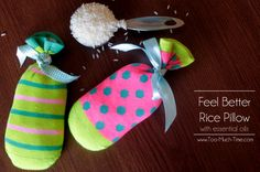 Kids Feel Better Rice Sock Pillows with Young Living Essential Oils from TMTOMH Too Much Time on My Hands copy Source by Young Living Oils, Young Living Essential Oils, Feel Better Gifts, Sewing Projects For Kids, Upcycling Projects, Sewing Ideas, Natural Cleaning Products, Diy For Kids, Christmas Gifts