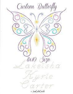 Custom 8x10 butterfly in vibrant silk by Sew Cute Cards.  sewcute.storenvy.com  fb.com/sewcutecards