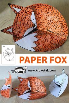 PAPER FOX - Kreatywnie - Kolorowanki szablony - Crafts world Diy Crafts For School, Christmas Crafts For Kids To Make, Paper Crafts For Kids, Projects For Kids, Diy For Kids, Easy Crafts, Fox Crafts, Animal Crafts, Art Lessons Elementary