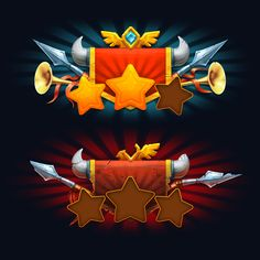 Tribez at War. Victory and Defeat screens. Game Gui, Game Icon, Level Design, Vikings Game, Game Effect, Match 3 Games, Game Ui Design, Game Props, Game Interface