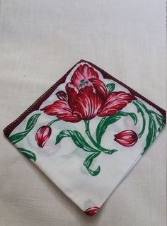 Mycyberattic.etsy.com  in my Etsy shop https://www.etsy.com/listing/505283969/pink-and-red-tulip-handkerchief-spring