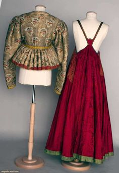 TWO FOLK GARMENTS, RUSSIA, metallic & polychrome silk brocade padded jacket w/ peplum; 1 red silk jacquard sarafan w/ copper jacquard bodice, B L very good. Folk Clothing, Clothing And Textile, Historical Clothing, Ethnic Outfits, Ethnic Dress, Vintage Outfits, Vintage Dresses, Folk Fashion, Vintage Fashion