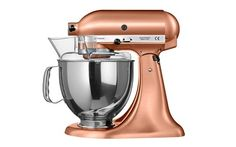 What a magnificent KitchenAid mixer! The copper body and silver bowl create a fabulous mix of metallics for an ultra-chic countertop accessory. http://www.deterra-kitchens.co.uk/blog/top-ten-copper-accessories-for-solid-wood-kitchens/
