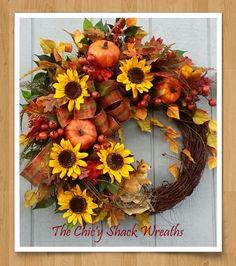 Fall Wreath,Autumn Wreath,Grapevine Wreath,Sunflower Wreath,Pumpkin Wreath,Traditional Wreath by TheChicyShackWreaths on Etsy