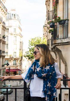 Whitney's Wonderland UK Fashion and Lifestyle luxury blogger wearing Becksondergaard supernova stars scarf and Twist & Tango boyfriend jeans in Montmartre, Paris.