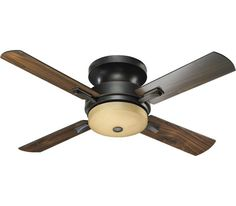 Lower ceilings love the Davenport Hugger family. Since it attaches directly to your ceiling, you have plenty of room to walk underneath. Sleek blade holders and three finishes make this fan a welcome addition to any space.