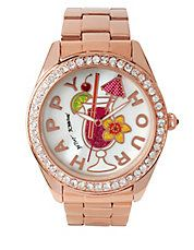 Happy Hour Motif Dial Rose Gold Watch, BJ0024930
