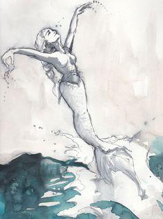 "Watercolor Sketch ""Mermaid Jump"". $39.00, via Etsy."