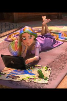 Edited rapunzel with a laptop hahahah this would be me. Is it weird that I wouldn't mind living in her tower as long as I had wifi?