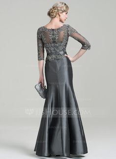 Trumpet/Mermaid Scoop Neck Floor-Length Beading Appliques Lace Sequins Zipper Up Sleeves 3/4 Sleeves No Steel Grey General Plus Taffeta Height:5.7ft Bust:33in Waist:24in Hips:34in US 2 / UK 6 / EU 32 Mother of the Bride Dress