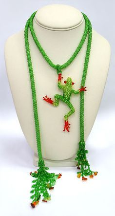 Julia Turova - adorable beaded frog necklace slider... could do with many shapes as the dangle!