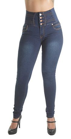 WG0059BP Plus Size Butt Lifting Levanta Cola Elastic High Waist Skinny Jeans in Navy Size 20 *** Click on the image for additional details.