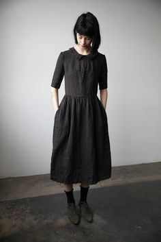 http://ovate.ca/collections/spring/products/mathilde-short-sleeve-linen-dress-with-collar