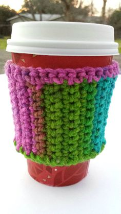 Crocheted Multicolored Coffee Cozy with Wooden Button, this is awesome, colorful and   as really cool