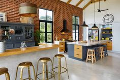 Exposed brick and wooden beams in a house in South Africa