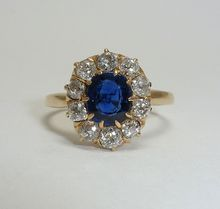English Victorian 2.12ct No Heat Sapphire & Diamond Engagement Ring: