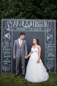 Haven't pinned for a while but I am back !!!! My latest ideas are flowing and I need to save them !!! Chalkboard wedding sign.... I love this idea. Although mine will be like a polaroid picture. One everyone can stand behind, our names and wedding date on the large bottom and then chalk will be supplied for people to draw pictures and write funny quotes on :)