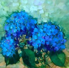 Paint the Town Blue Hydrangeas - Nancy Medina Art Classes and Workshops, painting by artist Nancy Medina