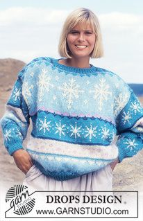 """DROPS jumper with ice crystal pattern in """"Alaska"""" and """"Vienna"""". ~ DROPS Design"""