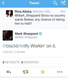 "I love Mark Sheppard although i expected his response to be more along the lines of ""we don't want him either"""