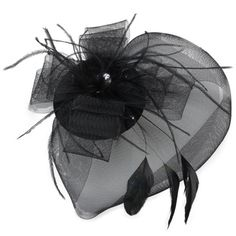 c14f63d6e Ladies Hair Clip Decorated Net Yarn Feather Burlesque Mini Top Hat ...