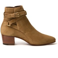 Saint Laurent Blake Jodhpur Boot (3.510 BRL) ❤ liked on Polyvore featuring shoes, boots, ankle booties, shoes - boots, kirna zabete, yves saint laurent, yves saint laurent boots, camel booties, mid heel booties and leather booties