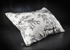 Velvet and toile de jouy cushion, Berengere Leroy