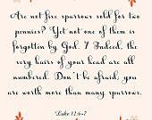 Inspirational Bible Quote Art- Luke 12:6-7- 8.5X11 Printable - BV-258