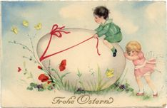 Fun and nostalgic, these vintage Easter cards are the perfect 'characters' for your holiday tables and decorating - scrapbooking - ...
