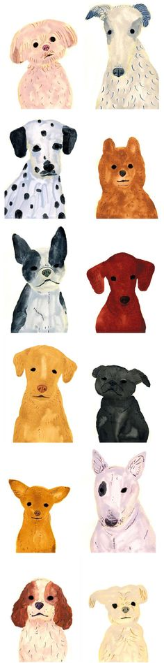 We were so excited to find these dog portraits by Itsuko Suzuki. There's a pup for everyone here. #DogPainting