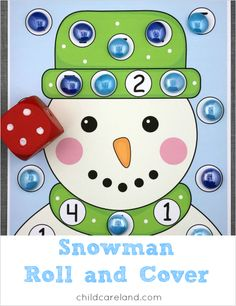 Snowman roll and cover for math and fine motor development.