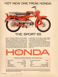 Honda Classic Honda Motorcycles, Vintage Motorcycles, Cars And Motorcycles, Honda Cb 100, New Honda, Vintage Prints, Vintage Photos, Four Stroke Engine, Honda Cub