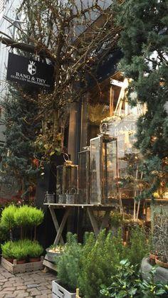 Bang & Thy │ Eksklusiv blomsterkunst i hjetet af Århus ⚶ Aarhus, Chillout Zone, Flower Shop Design, Decoration Vitrine, Shop Fronts, Garden Shop, Store Displays, Shop Interiors, Store Design