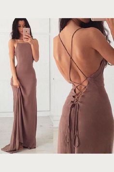 Soft Open Back Prom Dress Sheath Sexy Prom Dresses, Long Prom Dress, Backless Prom Dress, Soft Chiffon Prom Dress Open Back Prom Dresses, Straps Prom Dresses, Simple Prom Dress, Ball Dresses, Sexy Dresses, Beautiful Dresses, Evening Dresses, Dress Long, Prom Gowns
