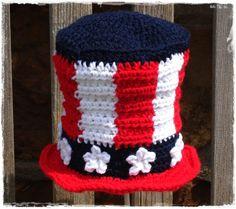 Uncle Sam Patriotic Crochet Baby Hat b