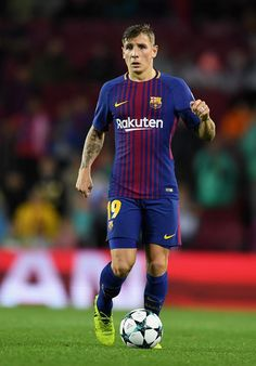 Lucas Digne of Barcelona in action during the UEFA Champions League group D match between FC Barcelona and Olympiakos Piraeus at Camp Nou on October 18, 2017 in Barcelona, Spain.