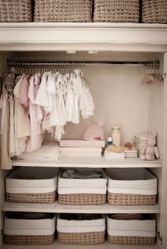 So smart to do in baby's closet.... add shelves on bottom and use baskets. Make shelf height able to be adjusted as your child's hanging clothes get bigger.