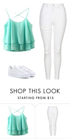 """""""Untitled #380"""" by makaylasmith-i ❤ liked on Polyvore featuring Topshop and adidas"""
