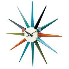 George Nelson Midcentury Modern Style Sunburst Clock Multi