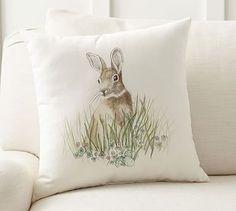 Clover Bunny Indoor/Outdoor Pillow #potterybarn